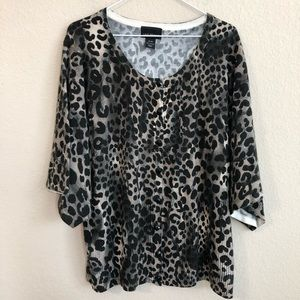 Lane Bryant Animal Print Wide Sleeve Cardigan